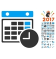 Time Table Icon With 2017 Year Bonus Pictograms vector image vector image