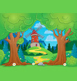 tree theme with windmill 1 vector image vector image