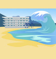 tsunami covers city global flood in vector image vector image
