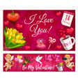 valentine day lettering and love symbols flowers vector image vector image
