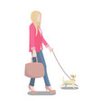 woman walking her dog poster vector image vector image