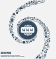 WWW icon in the center Around the many beautiful vector image vector image
