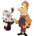a magician and a rabbit cartoon vector image