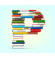 alphabet from stacks of multi colored books
