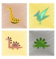 assembly flat shading style icons cartoon dinosaur vector image vector image