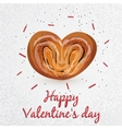 Bun with poppy seeds in a heart shape vector image vector image