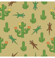cactus and lizards pattern vector image vector image