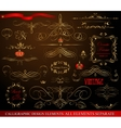 Calligraphic design elements gold on black vector image vector image