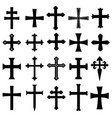 christian crosses icons set vector image vector image