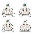 collection garlic cartoon character set vector image vector image