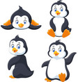 Collection of cartoon penguin isolated on white ba
