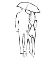 couple with an umbrella boy and girl sketch vector image