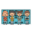 cute little students group in lockers vector image