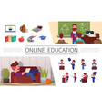 flat online education elements set vector image
