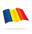 flying flag of romania vector image vector image