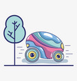 futuristic car on the street and tree vector image