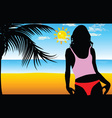 girl on the beach silhouette vector image vector image