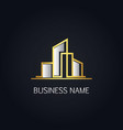 gold modern building company logo vector image vector image