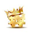 gold shiny korean won symbol currency sign vector image vector image