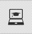 graduation cap and laptop icon isolated vector image
