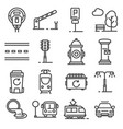 gray line city amenities icons set vector image vector image