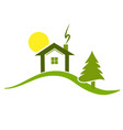 green house on top of hill environment icon logo vector image