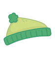 green warm hat on white background vector image