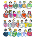 group people seamless pattern sketchy style vector image vector image