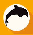 icon dolphin on white circle with a long shadow vector image