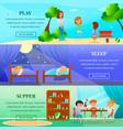 kindergarten characters horizontal banners vector image vector image