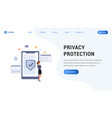landing page privacy protection vector image