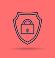 linear icon internet shield with lock vector image vector image