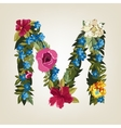 M letter Flower capital alphabet Colorful font vector image vector image