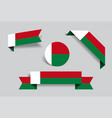madagascar flag stickers and labels vector image vector image