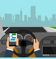 man using smartphone while driving the car vector image