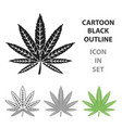 marijuana leaf icon in cartoon style isolated on vector image