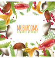 mushrooms frame realistic background poster vector image vector image