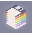 Pile of the colored floppy disks diskettes vector image vector image