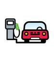 red passenger car at gas pump vector image vector image