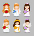 set of beautiful brides with wedding bouquet vector image