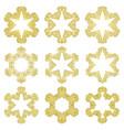 set of golden christmas holiday stars vector image