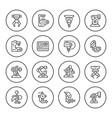 set round line icons robotic industry vector image vector image