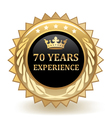 Seventy Years Experience Badge vector image vector image