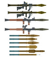 soviet rocket launchers and grenades for rpg-7 vector image vector image