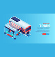 train waiting horizontal banner vector image vector image