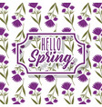 vintage label hello spring greeting card floral vector image vector image