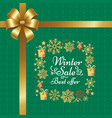 winter sale best offer poster with gift bow vector image vector image