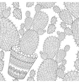 Zentangle Cactus seamless pattern Hand drawn vector image vector image
