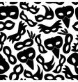 carnival rio black masks icons seamless pattern vector image