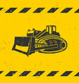 Bulldozer on yellow background vector image